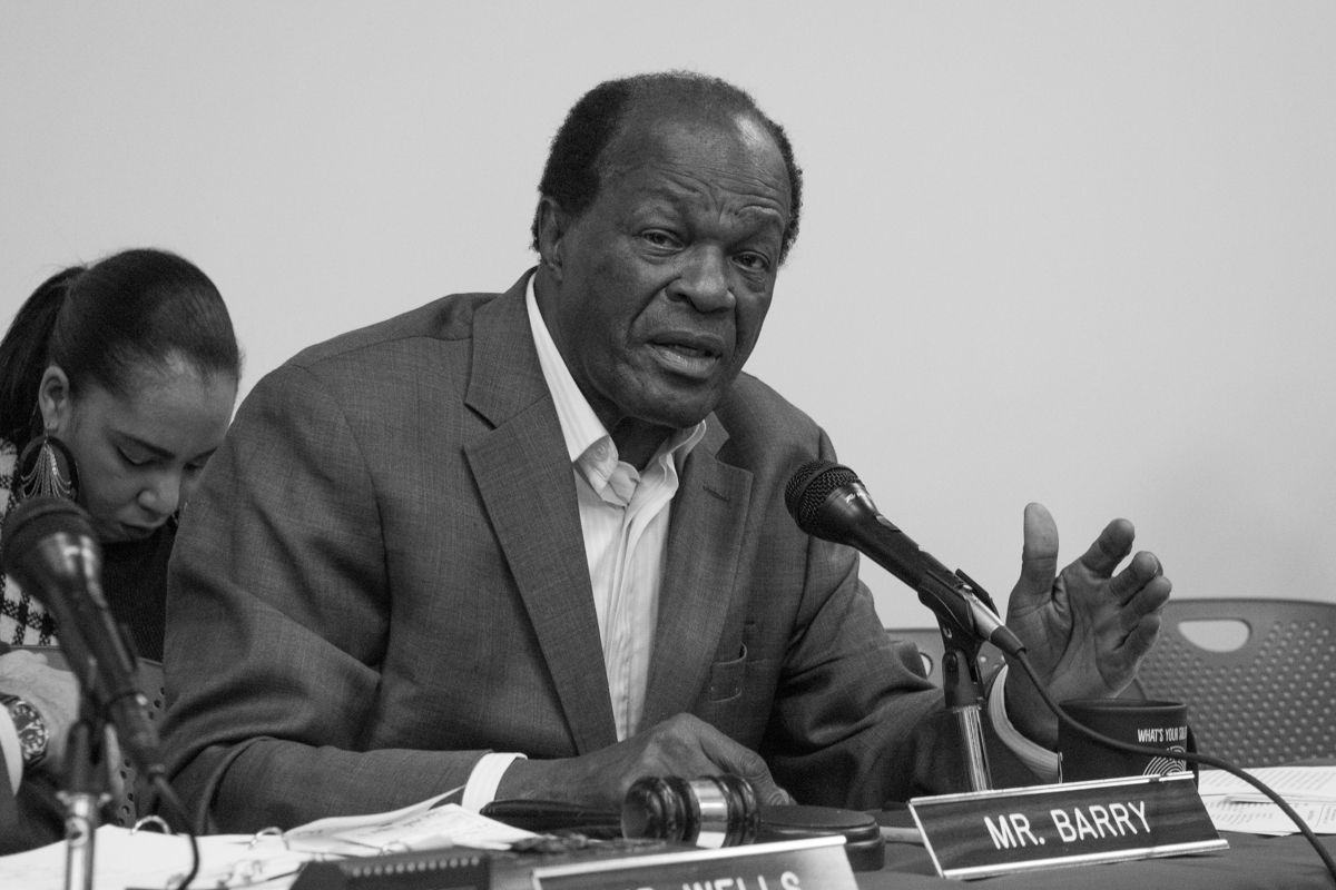 Marion Barry makes comments at a hearing on decriminalizing marijuana in Washington, D.C.
