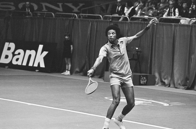 Tennis great Arthur Ashe at the 1975 World Tennis Tournament in Rotterdam.