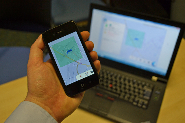 A GPS tracker monitors a car's location in real time.