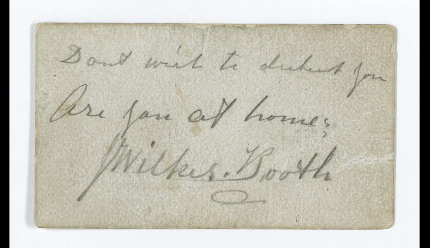 John Wilkes Booth  calling card 4-14-1865