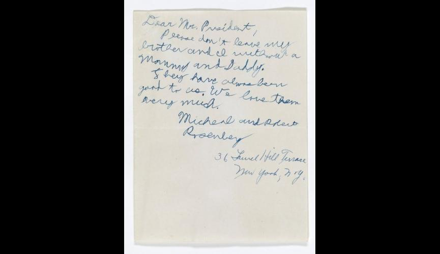 """Letter from Michael Rosenberg to Pres. Eisenhower, 1953, """"Please don't leave my brother and I without a Mommy and Daddy"""" (fi"""