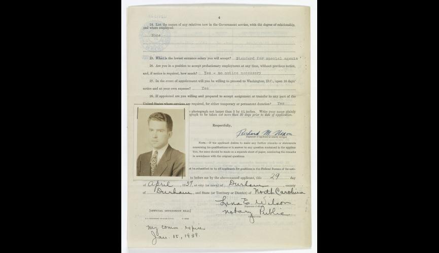 Nixon FBI application 1937, p.1 (2)