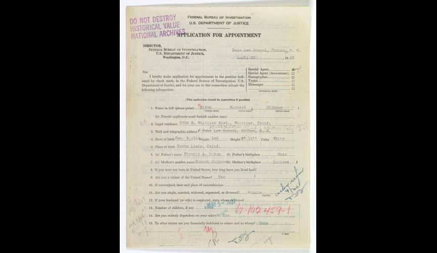 Nixon FBI application 1937, p.1