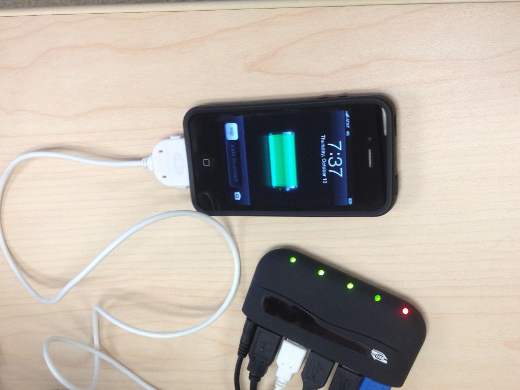 An iPhone charging.
