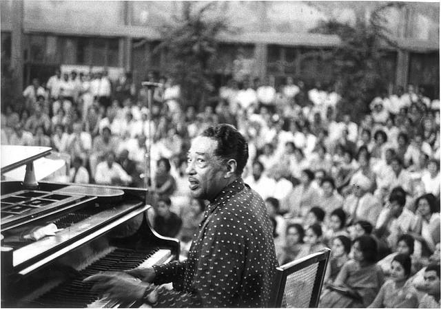 New Delhi, September 23, 1963: Duke Ellington at a demonstration at the Triveni Kala Sangam.