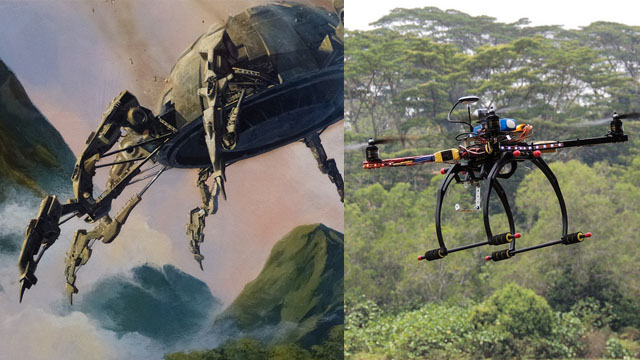 Drones of science fiction and reality.
