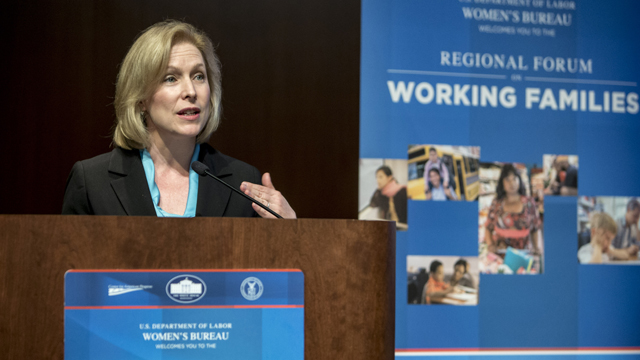 Sen. Kirsten Gillibrand (D-N.Y.) speaks at a Labor Department forum on working families last May. Gillibrand gave birth to her second son while a member of the U.S. House in 2008.