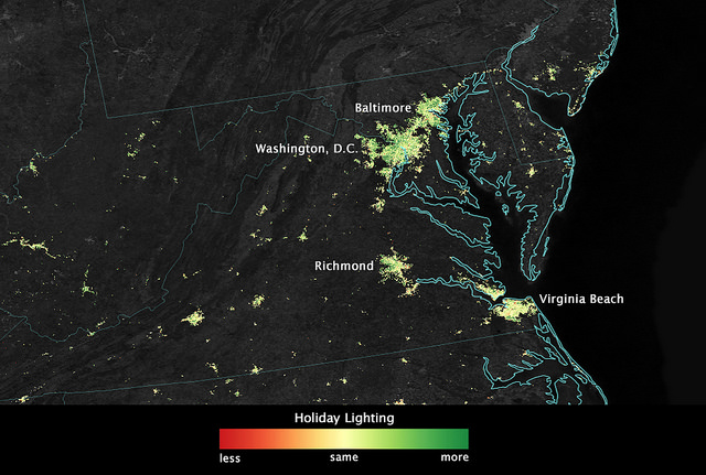 Night Watch Washington From Space The Kojo Nnamdi Show - Us map at night from space