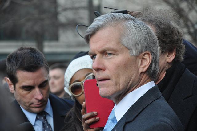 Former Virginia Gov. Bob McDonnell speaks to the press Jan. 6 after sentencing.