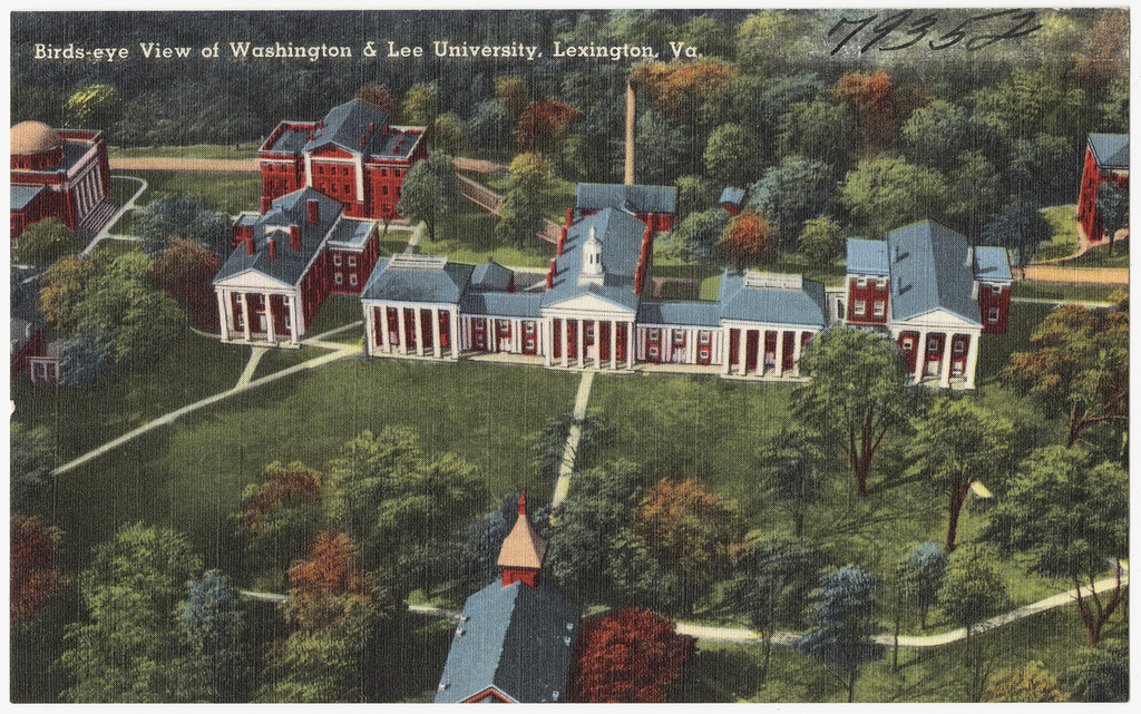A mid-20th-century postcard featuring the heart of the campus in Lexington, Va.