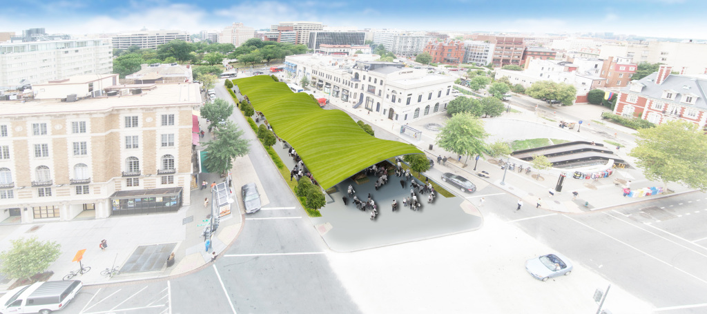A rendering of a potential park on Connecticut Avenue, part of the plans for the Dupont Underground arts district.