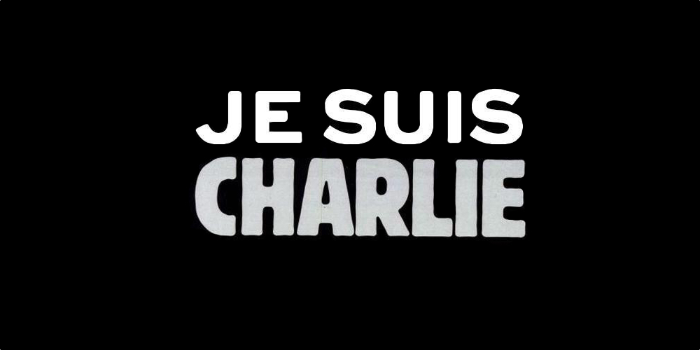 """Following the attack in Paris, the hashtag #JeSuisCharlie, or """"I am Charlie"""" quickly made the rounds on social media, along with a black-gray-and-white image of the words."""