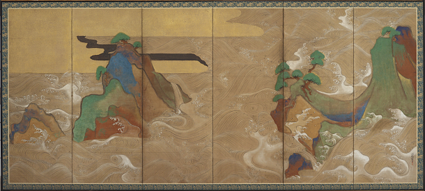 """Waves at Matsushima,"" by Japanese designer/painter Tawaraya Sōtatsu. <a href=""https://thekojonnamdishow.org/shows/2015-01-15/democratizing_art_asian_collection_goes_digital#slideshow-unveiling-a-treasure-trove-of-art"">See more images in our slideshow</a>."