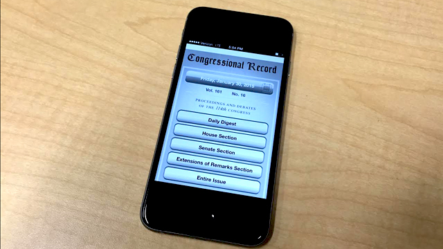 The Congressional Record is one of several apps that have moved legislative information into the mobile-device era.