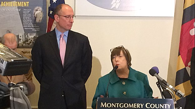 Joshua Starr, left, listens as Montgomery County school board President Patricia O'Neill speaks at a news conference on Feb. 3. Starr announced his plans to resign at the same news conference.