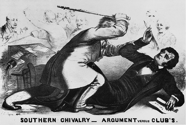 """A Northern cartoonist's portrayal of when South Carolina Rep. Preston Brooks entered the Senate chamber in May 1856 and <a href=""""https://www.senate.gov/artandhistory/history/minute/The_Caning_of_Senator_Charles_Sumner.htm"""">savagely caned</a> Massachusetts Sen. Charles Sumner, who had earlier given a contentious speech on whether Kansas should be admitted to the union as a slave state or a free state."""
