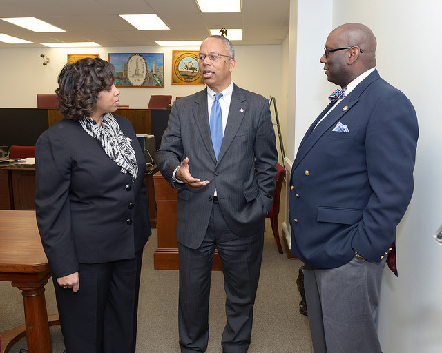 Lt. Governor Boyd Rutherford (center) honors Baltimore politician Frank M. Conaway Sr. in March 2015.