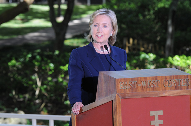 Hillary Clinton speaks at the East-West Center's Hawaii Imin Conference Center in 2010.