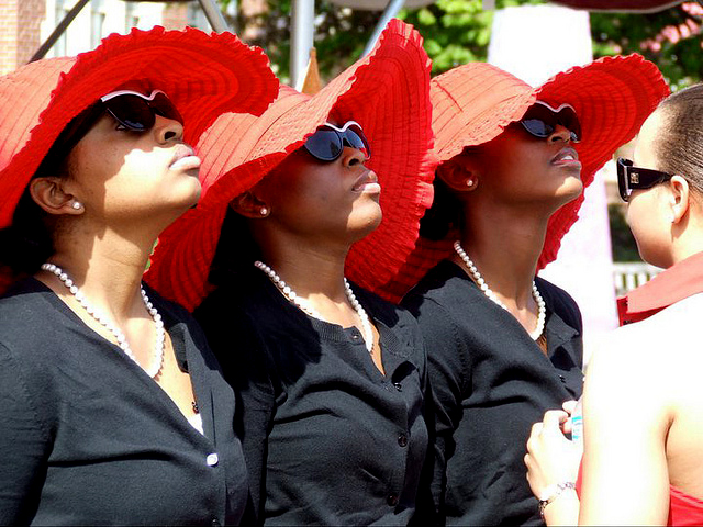 Three members of Delta Sigma Theta at Roanoke College in 2011.