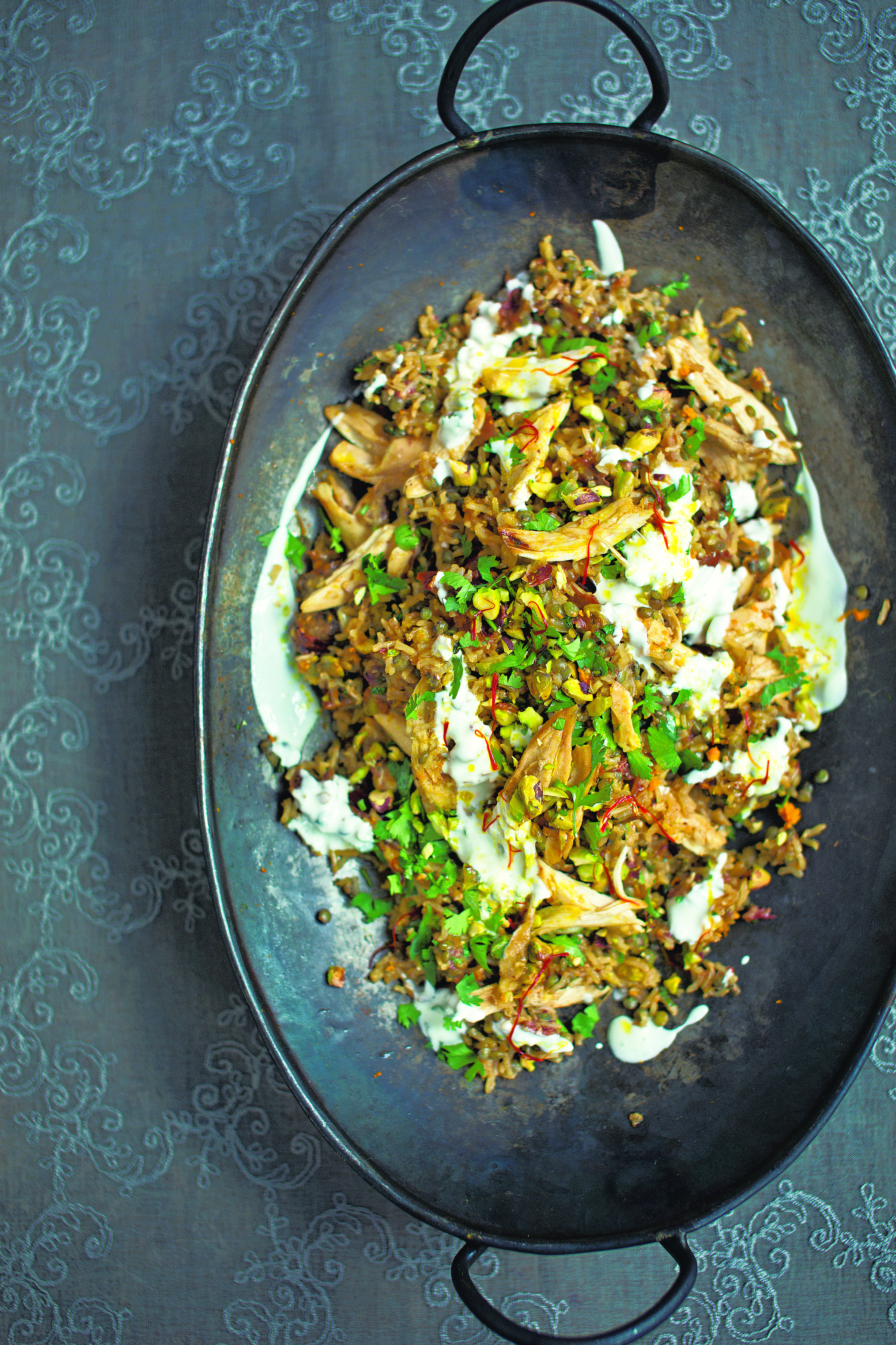 Chicken, date and lentil brown rice pilaf with saffron butter