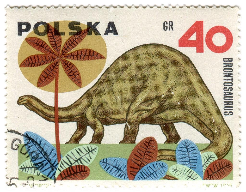 A Brontosaurus on a Polish postage stamp.