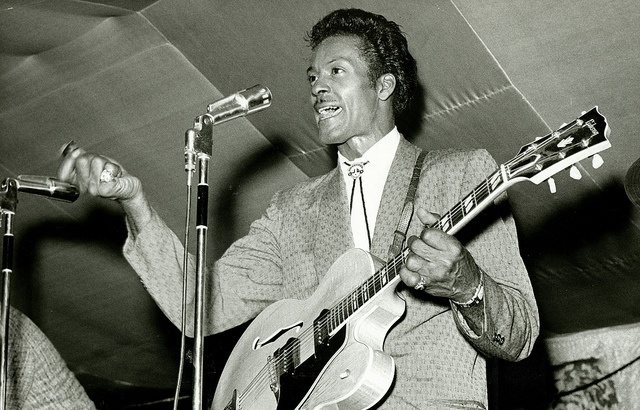 "Chuck Berry performing during ""Chuck Berry's Bandstand"" in 1965."
