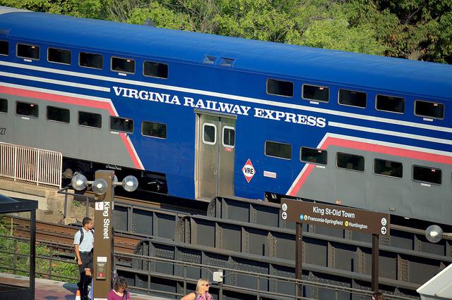 A Virginia Railway Express train at Kin Street station in Virginia.