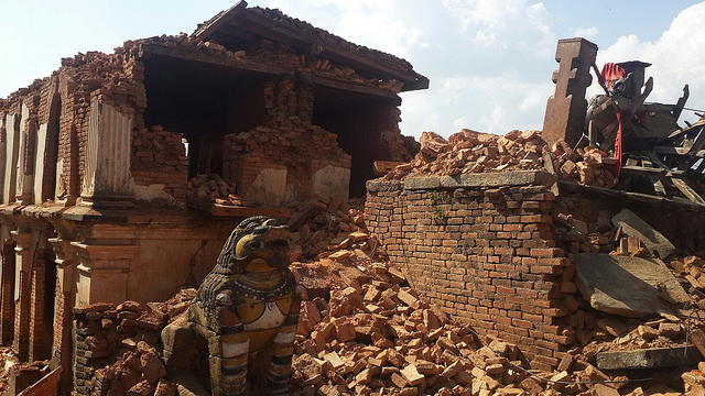 Destroyed buildings and houses in Nuwakot District, Nepal.