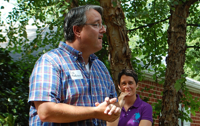 Maryland State Senator Richard Madaleno campaigning with Heather Mizeur.