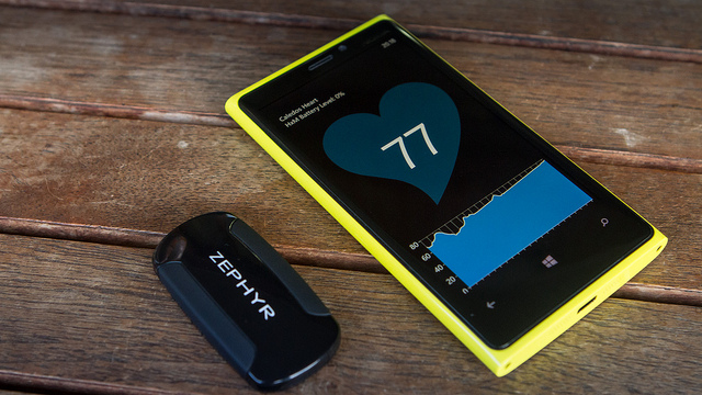 A heart rate monitor on a Windows Phone.