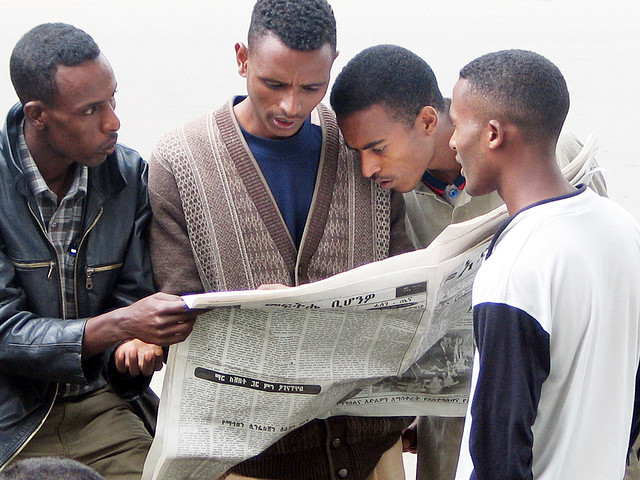 Journalism students at Addis Ababa University following the news two elections ago in 2005.