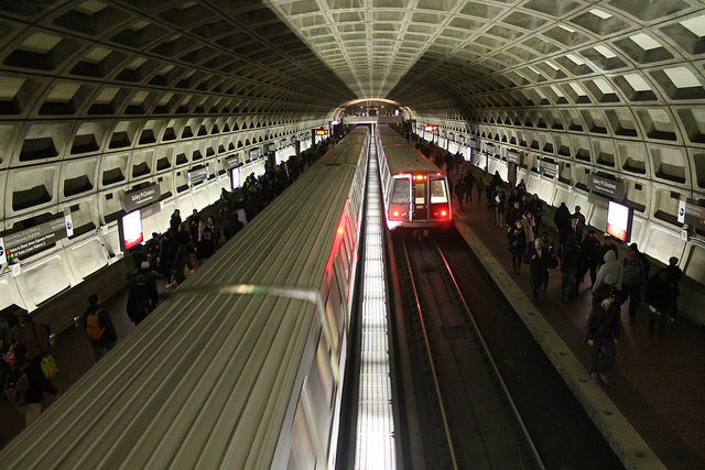 Two red line trains at Shady Grove picking up passengers on a Friday afternoon in 2014.