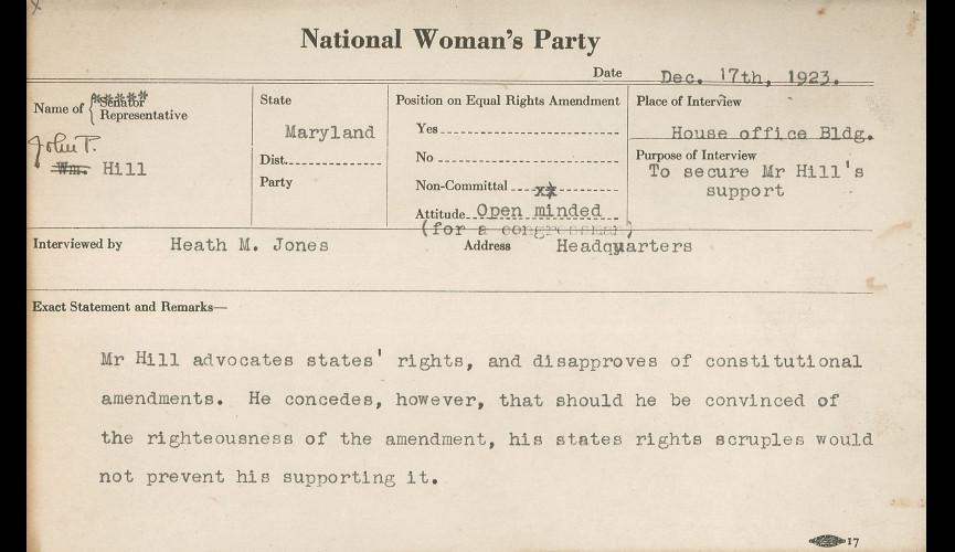 John P. Hill-NWP Congressional Voting Card December 17 1923