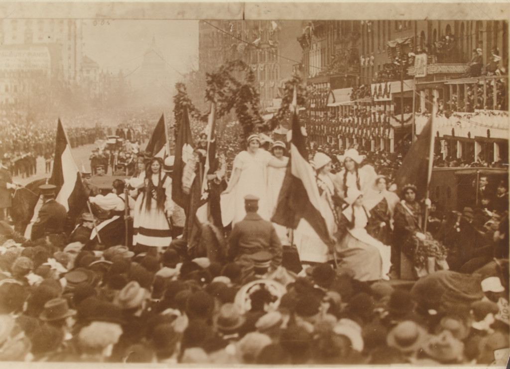 A March 1913 suffrage parade in Washington, D.C.
