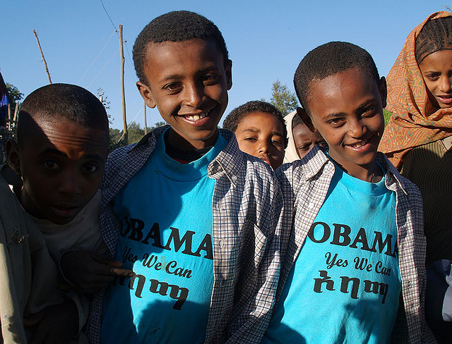 Ethiopians supporting Obama before his presidency in 2009.