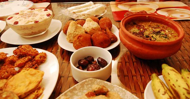 An Iftar meal at home during Ramadan.