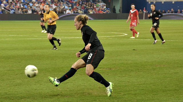 The U.S. Women's National Team playing against Canada in 2011.