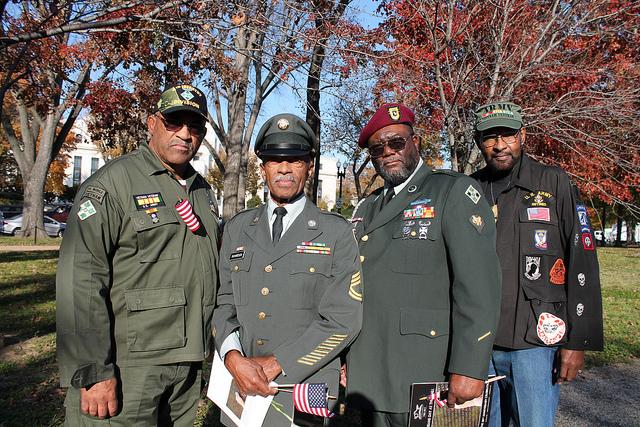 Veterans attend an event at the Vietnam War Veterans Memorial at Constitution Gardens in 2012.