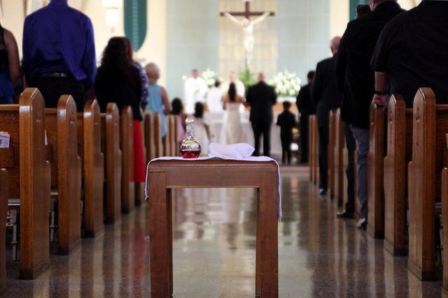 Communion at a Catholic wedding.