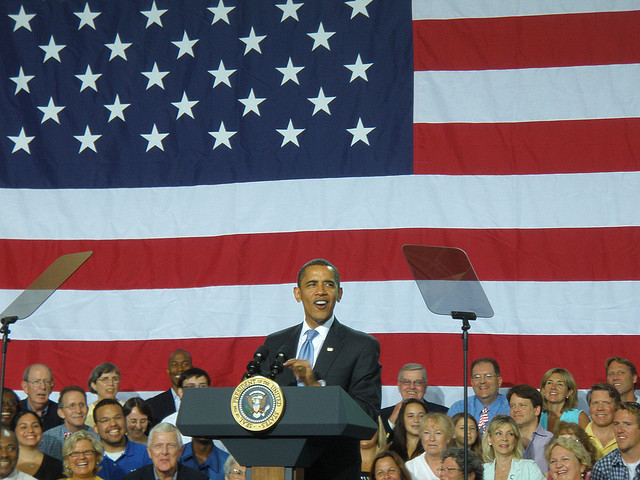 President Barack Obama speaking at a town hall meeting in Portsmouth, N.H. in 2009.
