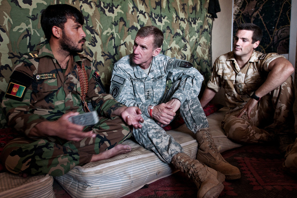 Gen. Stanley A. McChrystal (center) speaks with Afghan National Army Lt. Aminullah Sadat (left) at Patrol Base Tapa Paraang.