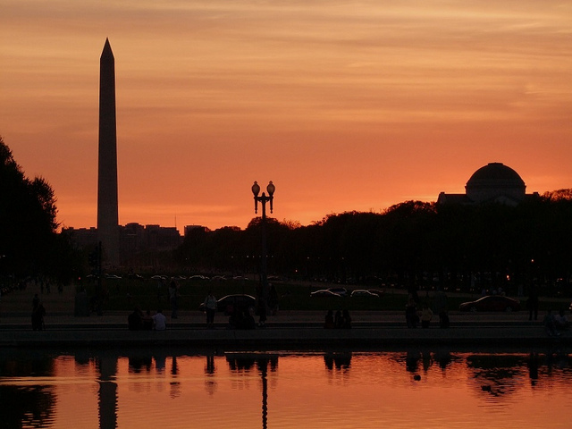 The Washington Monument at dusk.