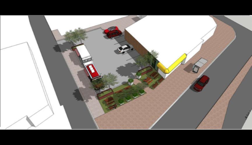 GCP Outdoor Community Space Rendering