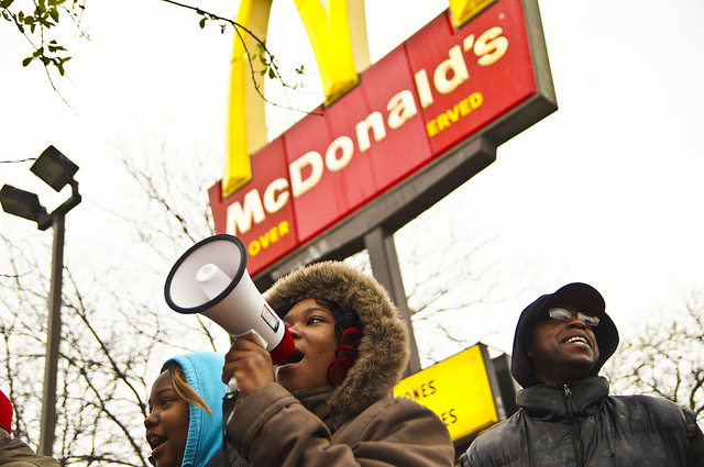 Workers protest at a McDonald's in Milwaukee, Wis.