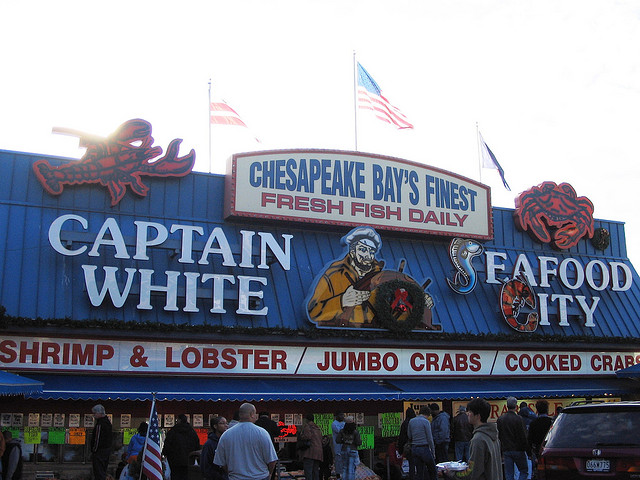 A seafood stand at D.C.'s Southwest Waterfront.