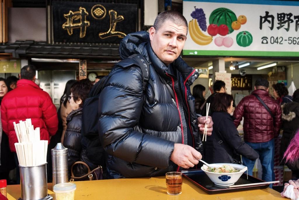 Adam Johnson at Inoue Ramen in Tokyo's Tsukiji fish market.