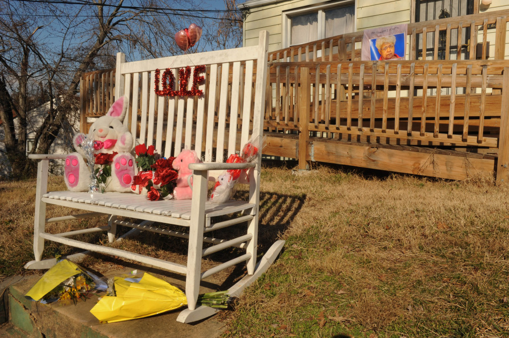 On Feb. 9, 2013, police found Geraldine J. McIntyre suffering from bodily trauma during a welfare check call. She was taken to a nearby hospital and later pronounced dead. Neighbors built a shrine for her in Capitol Heights that Valentine's Day.