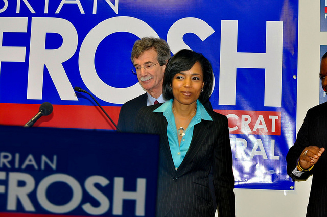 Angela Alsobrooks campaigning for Brian Frosh.