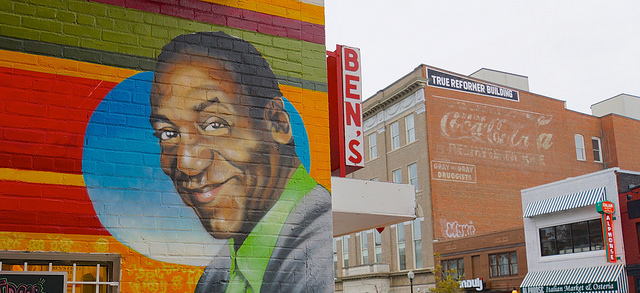Mural of Bill Cosby on the side of Ben's Chili Bowl on U Street.