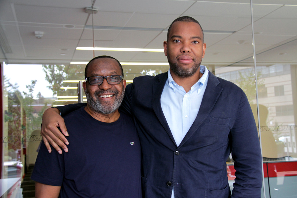 Kojo Nnamdi (left) and Ta-Nehisi Coates (right) at WAMU's studio.